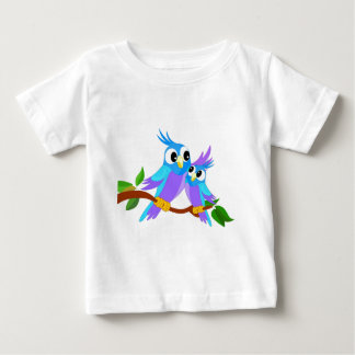 Mother and Baby Cartoon Parrots Baby T-Shirt