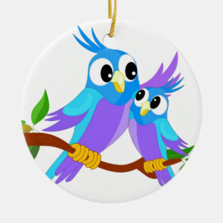 Mother and Baby Cartoon Parrots Ceramic Ornament