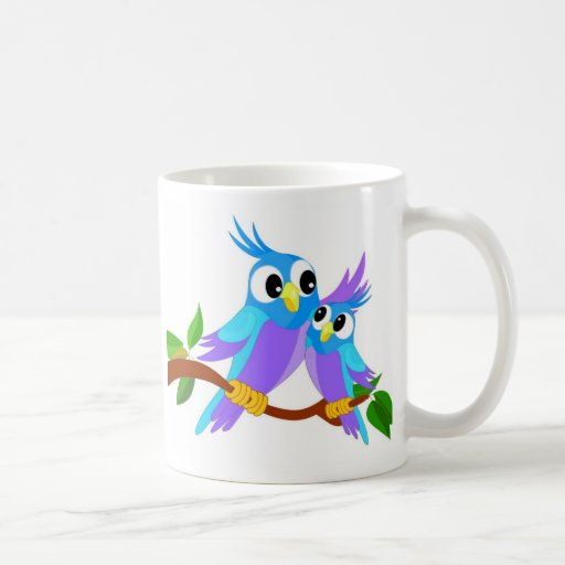 Mother and Baby Cartoon Parrots Coffee Mugs