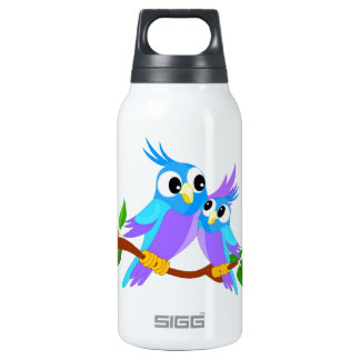 Mother and Baby Cartoon Parrots Insulated Water Bottle