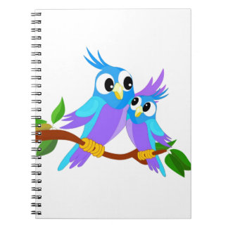 Mother and Baby Cartoon Parrots Notebook