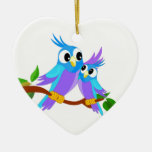 Mother and Baby Cartoon Parrots Ornament