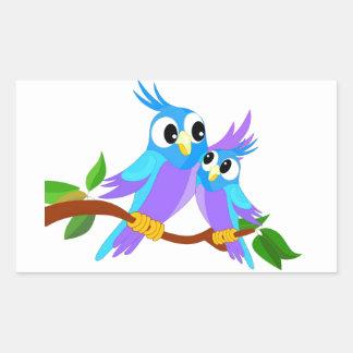 Mother and Baby Cartoon Parrots Rectangular Sticker