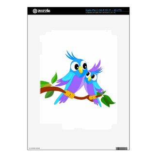 Mother and Baby Cartoon Parrots iPad 3 Decal