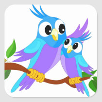 Mother and Baby Cartoon Parrots Square Sticker