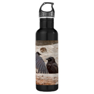 Mother and Baby Crow on a Beach Water Bottle