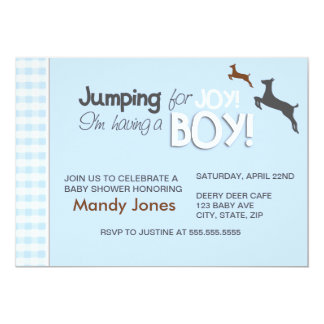 Mother and baby deer Blue Boy Baby Shower invites