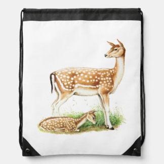 Mother and Baby Deer Drawstring Backpacks