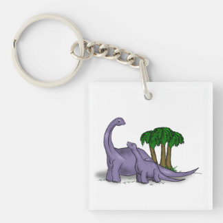 Mother and Baby Dinosaur Single-Sided Square Acrylic Keychain