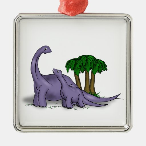 Mother and Baby Dinosaur Square Metal Christmas Ornament