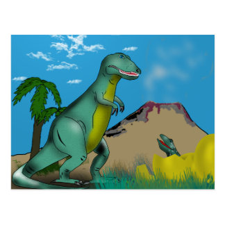 Mother and Baby Dinosaur Postcard