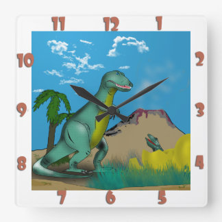 Mother and Baby Dinosaur Square Wall Clock