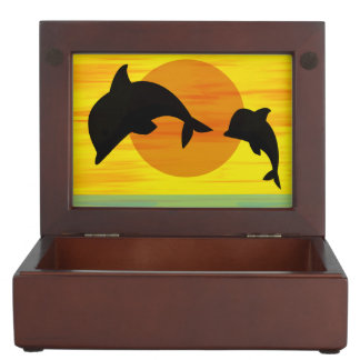 Mother and baby dolphin leaping out of the sea memory box