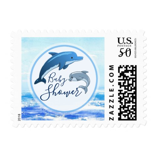 Mother and Baby Dolphin Ocean Theme Baby Shower Postage