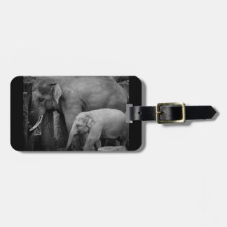 mother and baby elephant luggage tag