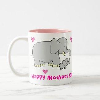 mother and baby elephant mug mug
