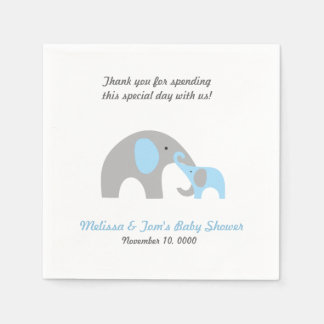 Mother and Baby Elephant Shower napkins BLUE GREY