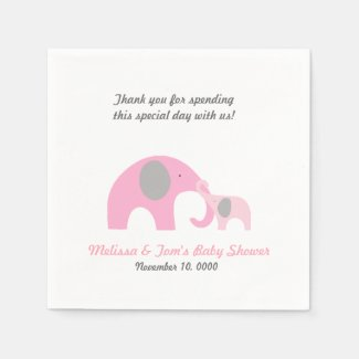 Mother and Baby Elephant Shower PINK GREY