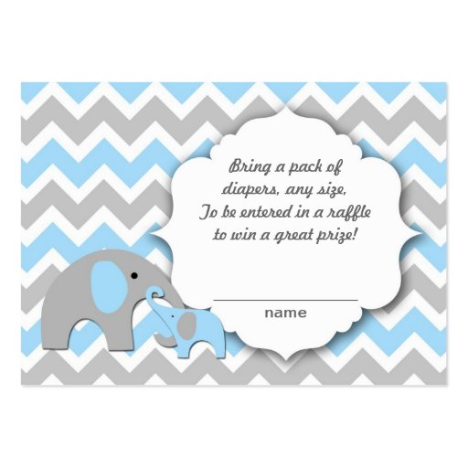 Mother and baby elephants diaper raffle tickets large business cards ...