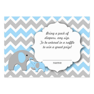 Mother and baby elephants diaper raffle tickets large business card