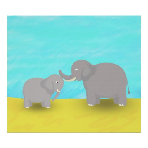 Mother and Baby Elephants print