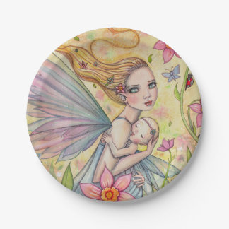 Mother and Baby Fairies Baby Shower 7 Inch Paper Plate