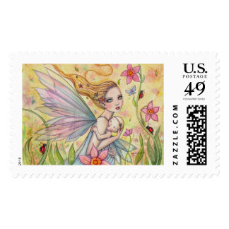 Mother and Baby Fairy Fantasy Art Illustration Postage Stamp