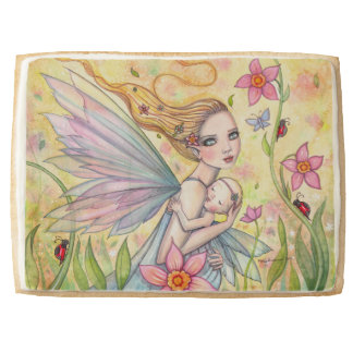 Mother and Baby Flower Fairy Illustration Jumbo Cookie