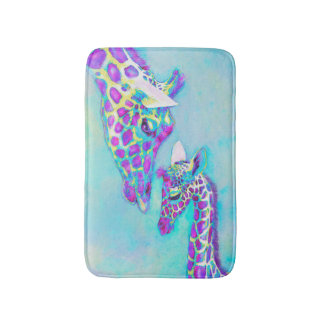mother and baby giraffe- purple blue and yellow bathroom mat