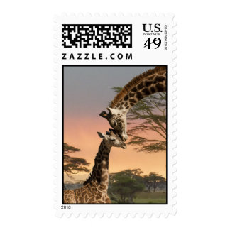 Mother and Baby Giraffe Stamp