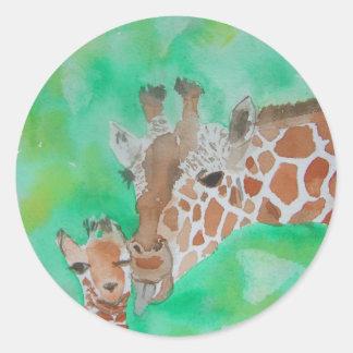 Mother and Baby Giraffe Classic Round Sticker