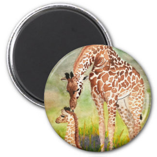 Mother and Baby Giraffes 2 Inch Round Magnet