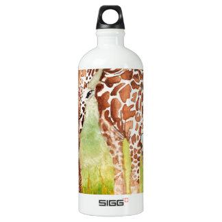 Mother and Baby Giraffes Aluminum Water Bottle