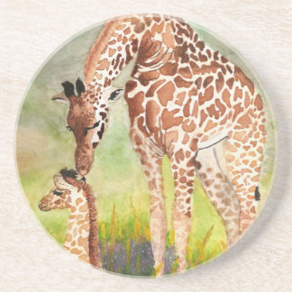 Mother and Baby Giraffes Beverage Coasters