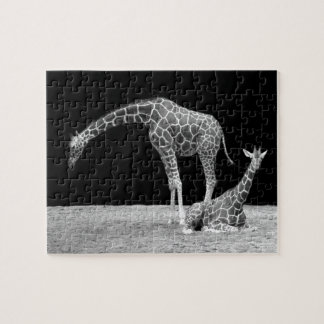 Mother and baby giraffes black and white jigsaw puzzle