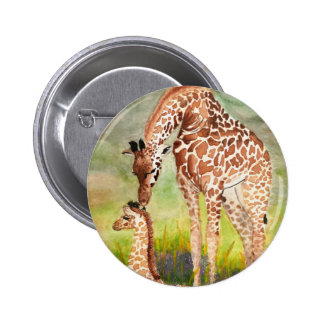 Mother and Baby Giraffes Button
