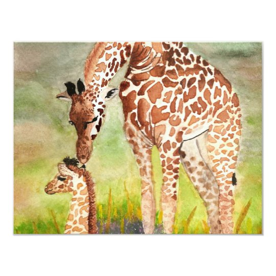 Mother and Baby Giraffes Card