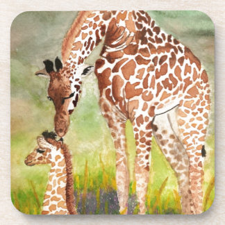 Mother and Baby Giraffes Beverage Coaster