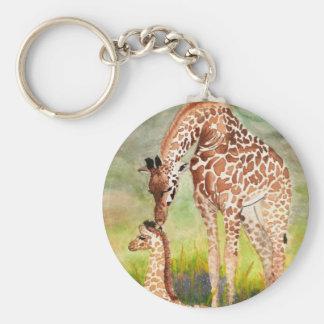 Mother and Baby Giraffes Basic Round Button Keychain