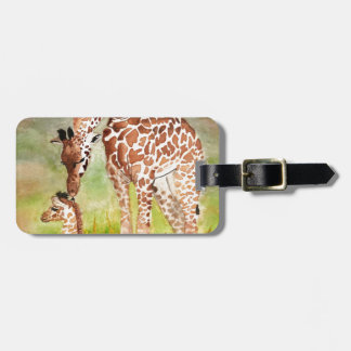 Mother and Baby Giraffes Tags For Bags