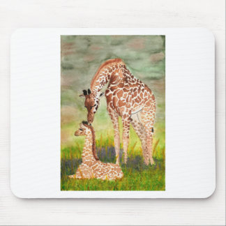 Mother and Baby Giraffes Mouse Pad