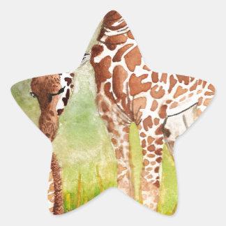 Mother and Baby Giraffes Star Sticker
