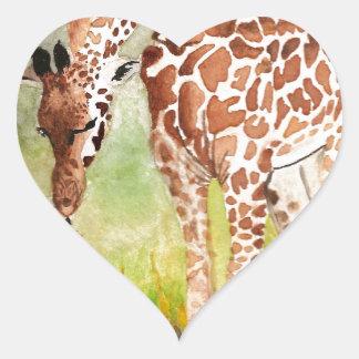 Mother and Baby Giraffes Heart Sticker