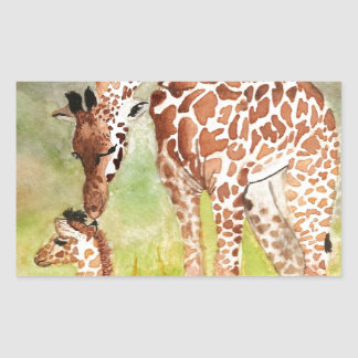 Mother and Baby Giraffes Rectangular Sticker
