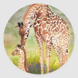Mother and Baby Giraffes Classic Round Sticker