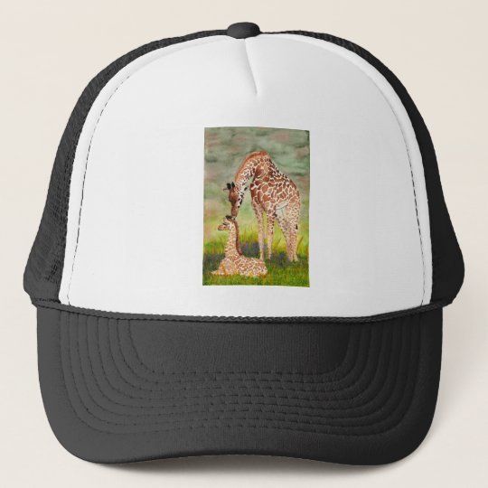 Mother and Baby Giraffes Trucker Hat