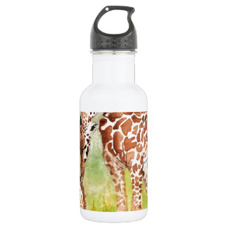 Mother and Baby Giraffes Water Bottle