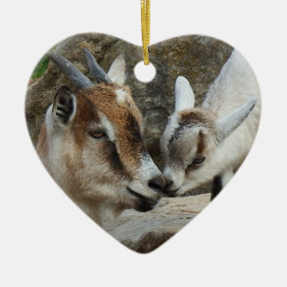 Mother and Baby Goat Valentine's Day Heart Ceramic Ornament