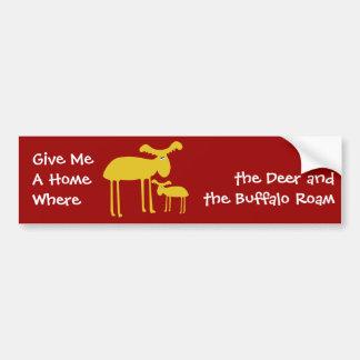Mother and Baby Golden Deer Cartoon Bumper Sticker