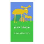 Mother and Baby Golden Deer Cartoon Business Card